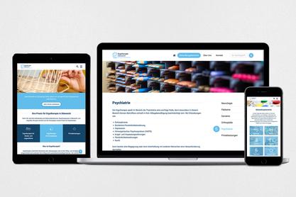 Darstellung der Website in verschiedenen Gerätegrößen