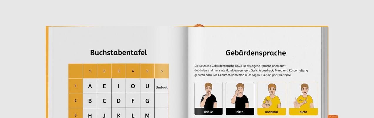 Die Buchstabentafel und einige Gebärde-Darstellungen zeigen Beispiele weitere Kommunikationsmöglichkeiten