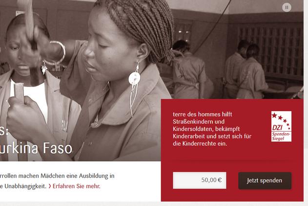 Spendenbox der Startseite übergibt Betrag an Fundraisingbox-Formular