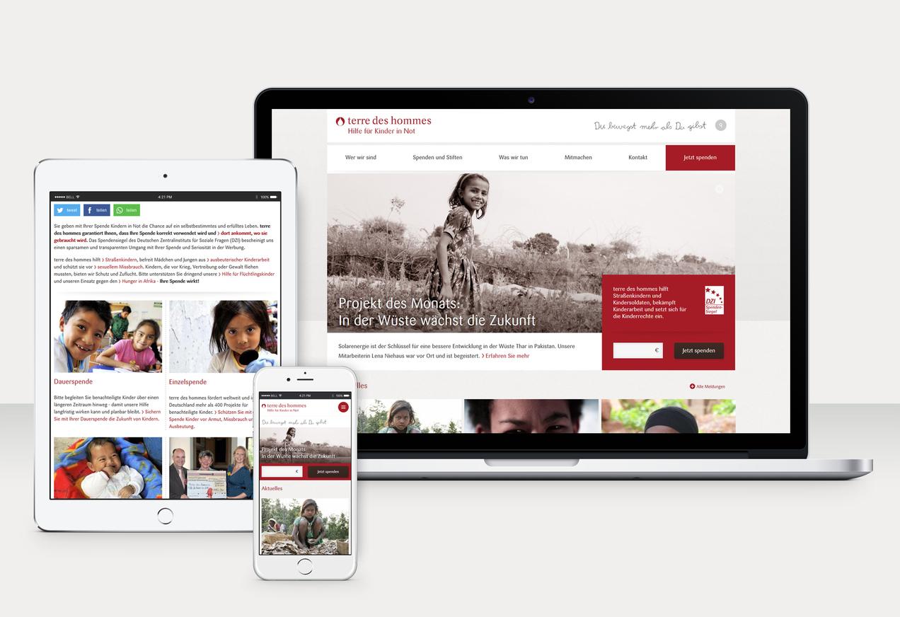 terre des hommes Website - responsive Ansichten