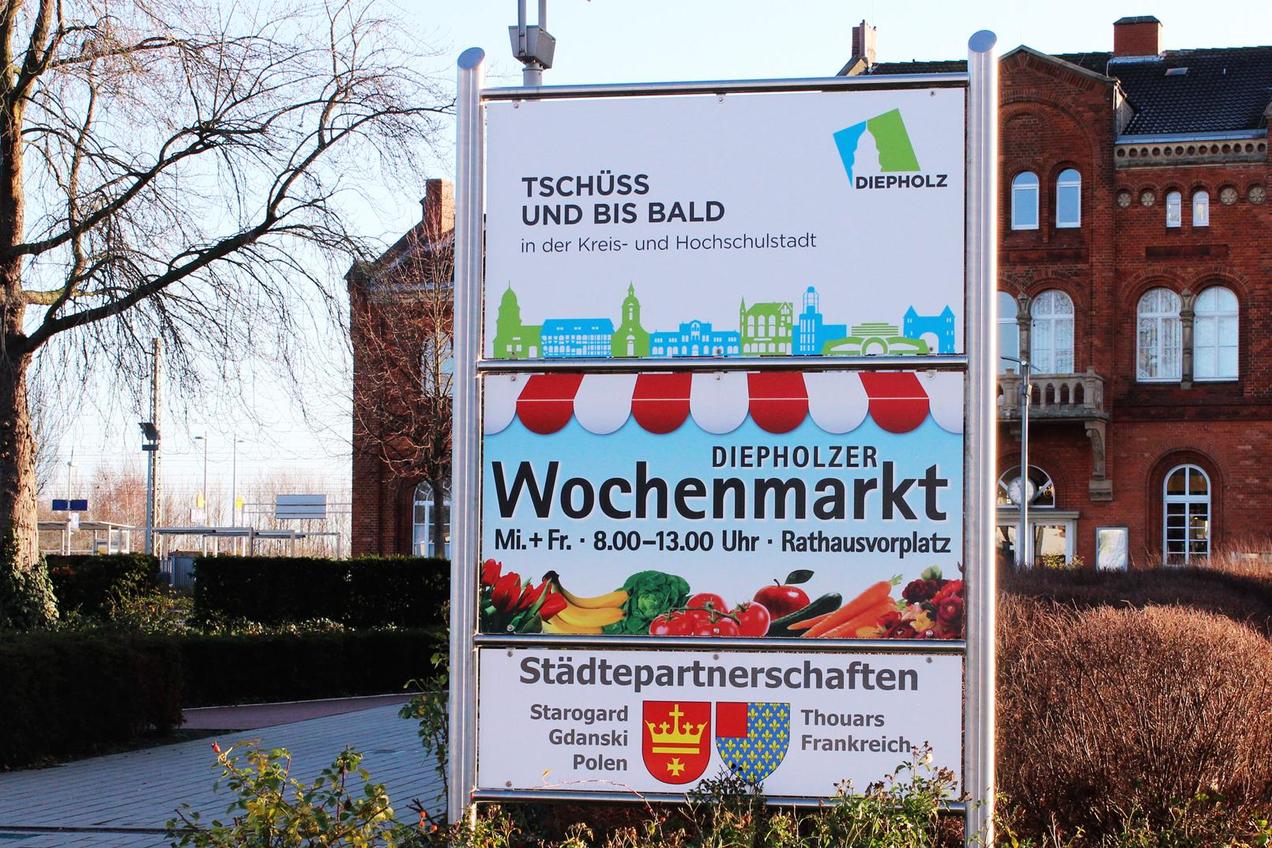 Schild der Stadt Diepholz, das zum Abschied alles Gute wünscht.