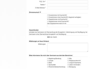 Umfangreiches TYPO3-Formular zur Seminarbuchung