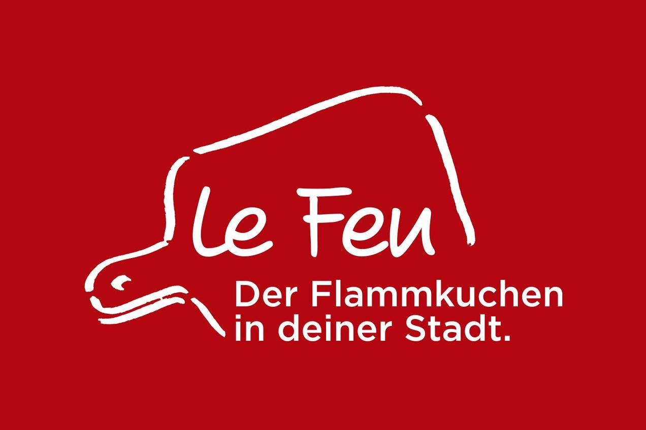 Das Logo von Le Feu basiert auf den traditionellen Brettern, auf denen der Flammkuchen serviert wird