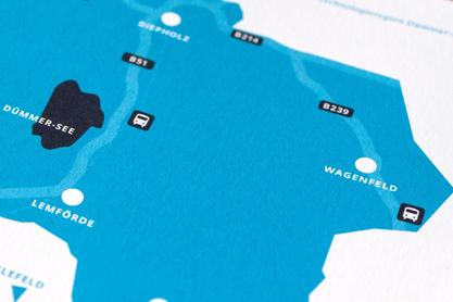 Eine grafisch reduzierte Karte zeigt deutlich die infrastrukturellen Anbindungen der Region