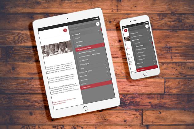 Mobiles Menü für Smartphone und Tablett