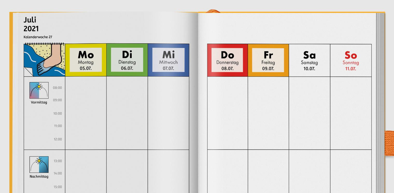 Die Symbole von Metacom erleichtern die Orientierung im Kalender