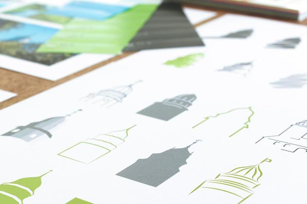 Entwicklung verschiedener Turmvarianten für das Logo