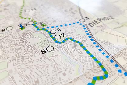 Zwei farbig-markierte Routen zeigen die Wege Gänse- und Erlebnistour