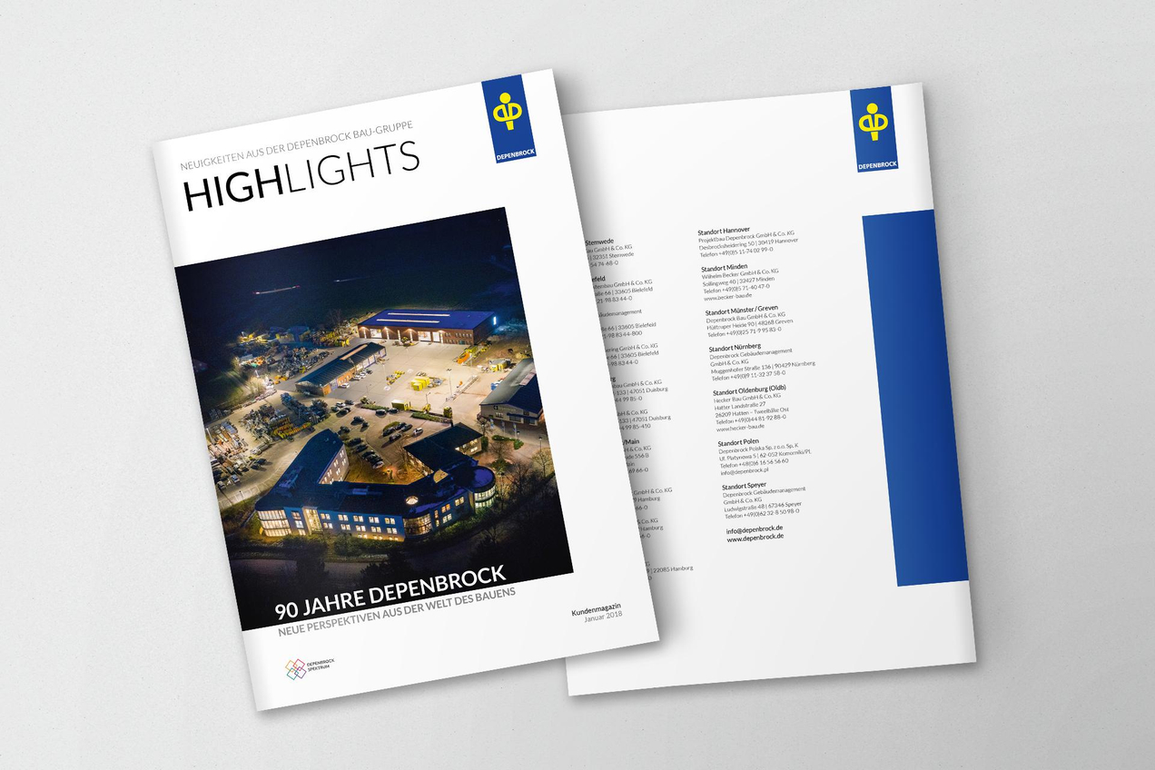 Titel und Rückseite des Kundenmagazins Highlights
