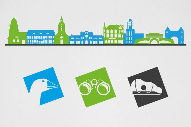 Die Diepholzer Skyline sowie Tour-Icons für das Leitsystem