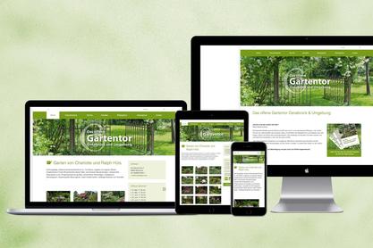 Responsive Ansichten der Website Offenes Gartentor