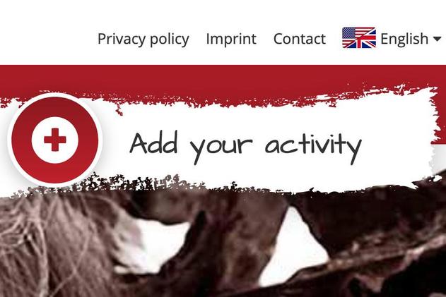 Ein auffälliger Button zeigt an, wo die Aktionen eingetragen werden können