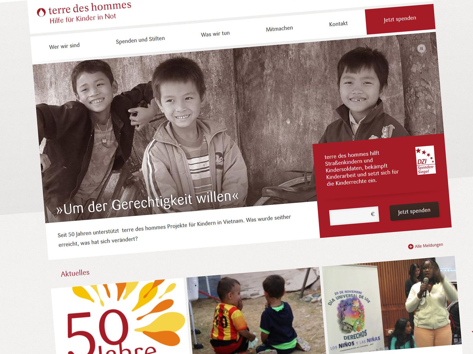 Mobilfähige TYPO3-Website für terre des hommes
