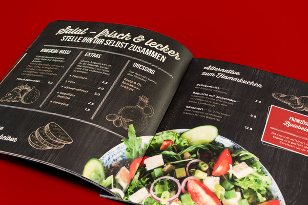Keine Lust auf Flammkuchen? Durch eine klare Aufteilung ist die Wahl eines Salats ein Klacks.