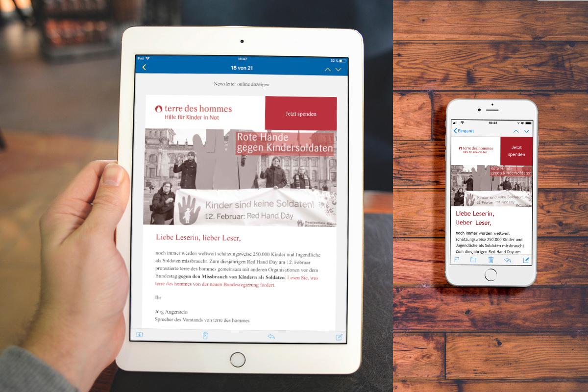 Responsiver TYPO3 Newsletter auf iPad und iPhone